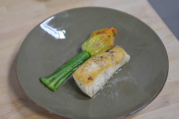 Courgette Flowers and Halibut