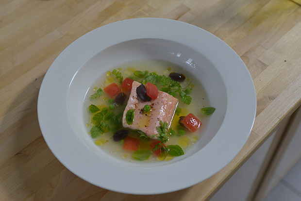 Tomato Consommé and Poached Salmon