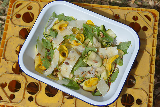 Marinated Courgette, Pine Nut and Parmesan Salad