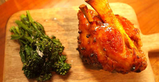 Honey roasted Ham with sprouting broccoli